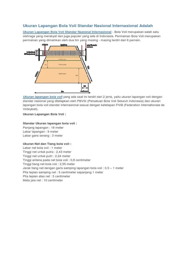 Ukuran Net Bola Voli Putri : ukuran, putri, Ukuran, Lapangan, Standar, Nasional, Internasional