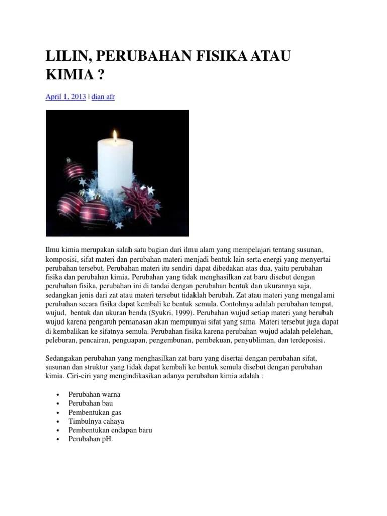 Lilin Terbakar Termasuk Perubahan : lilin, terbakar, termasuk, perubahan, LILIN, Perubahn, Fisika, Kimia