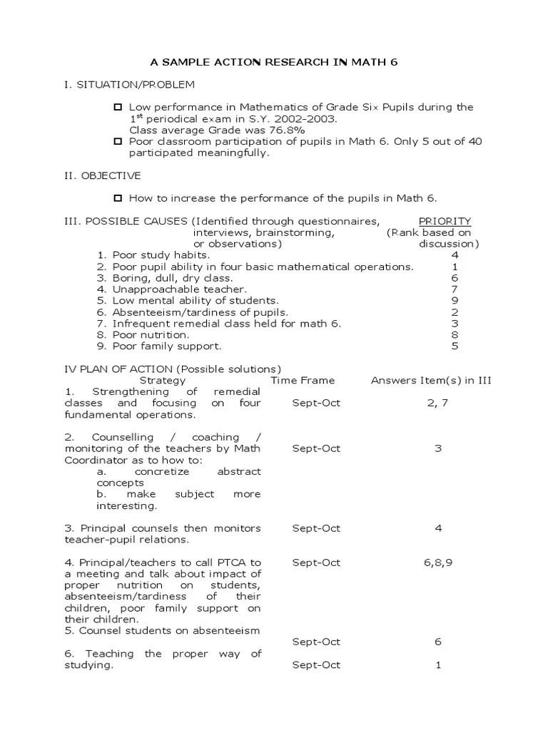 A Sample Action Research In Math 6 Physics & Mathematics Mathematics