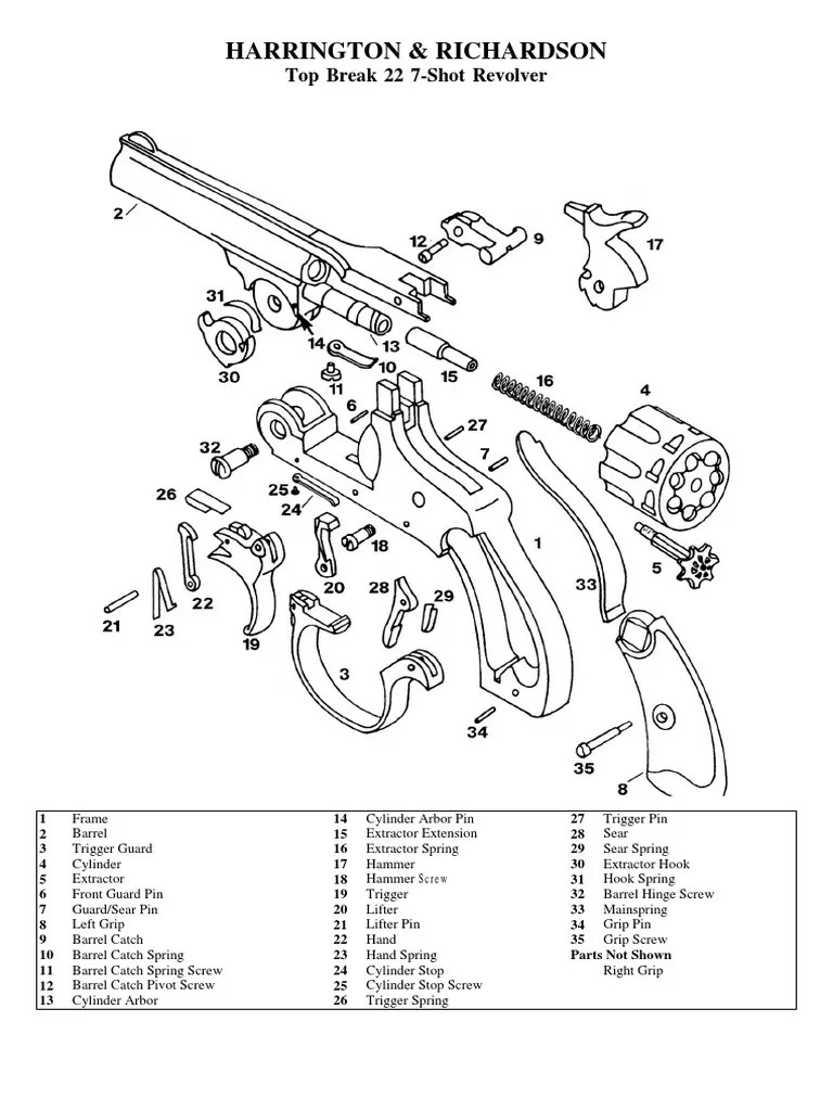 H&R Premier Top-Break 22 7-Shot Revolver Exploded Drawing