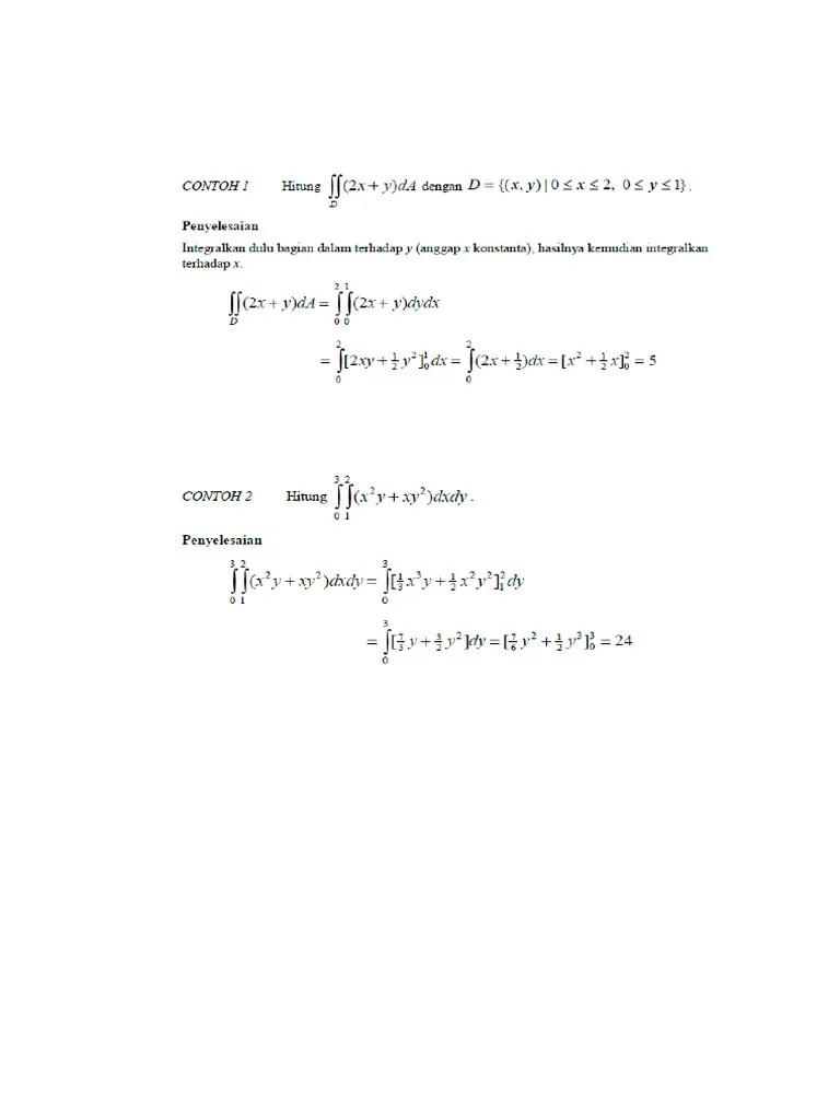 Contoh Soal Integral Lipat Dua : contoh, integral, lipat, Pembahasan, Integral, Lipat, Dua.doc