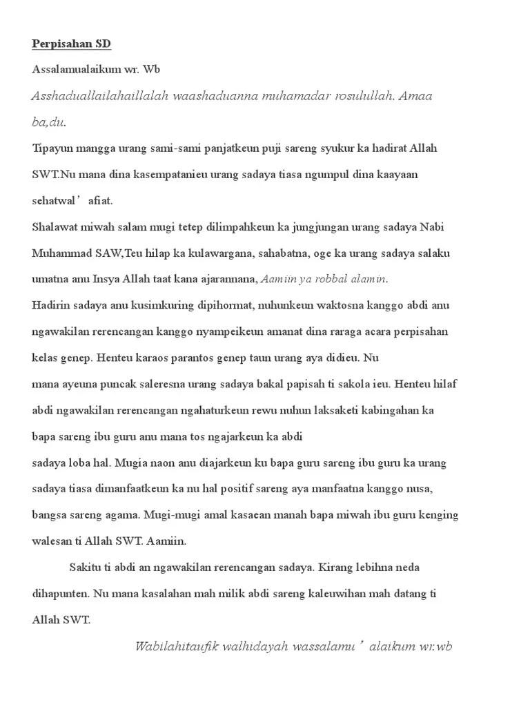 Pidato : Bahasa Sunda Tema Perpisahan SD