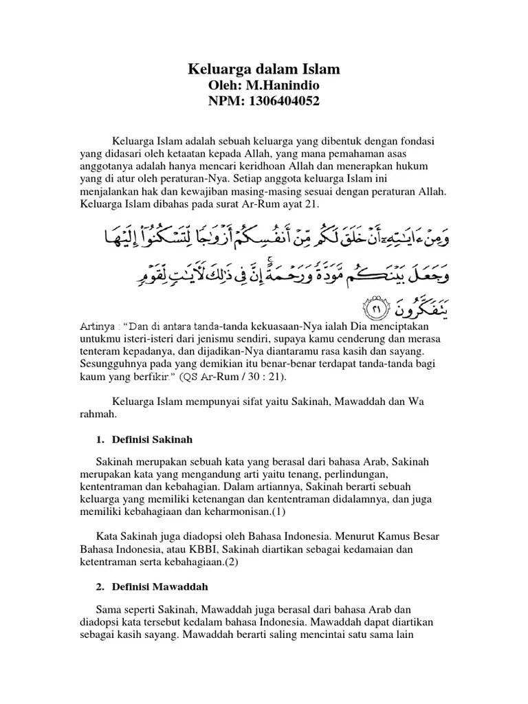 Sakinah Mawadah Warohmah Arab : sakinah, mawadah, warohmah, Keluarga, Dalam, Islam:, Oleh:, M.Hanindio, 1306404052