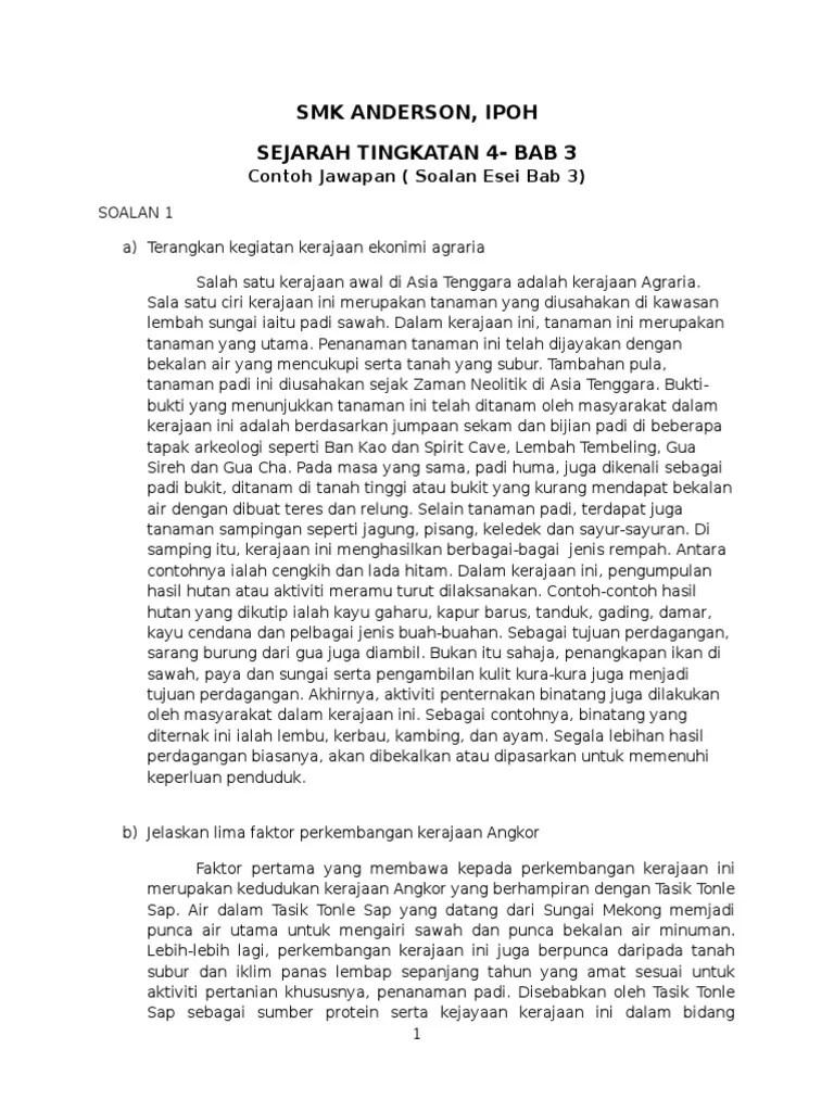 Jawapan Esei Kertas 3 Sejarah Tingkatan 4 Bab 4