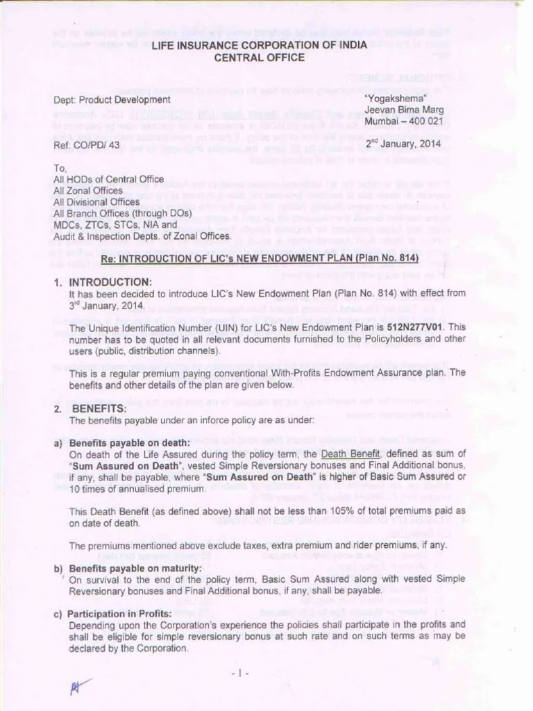 Lic New Endowment Policy 814 Circular | Insurance | Service Industries