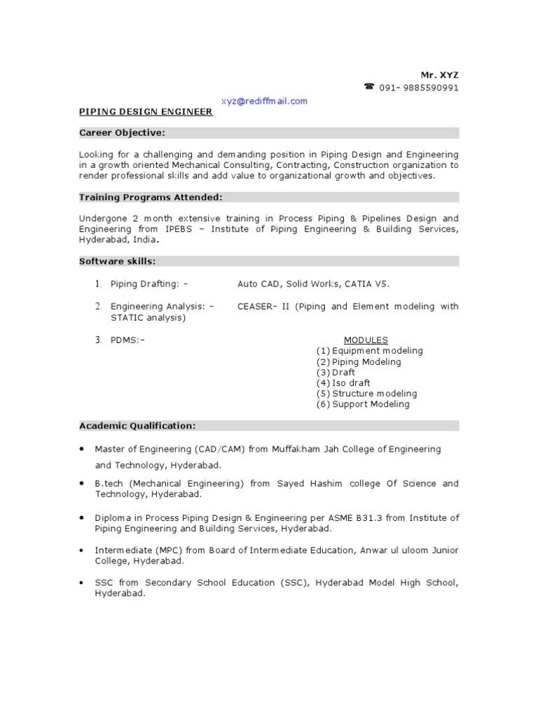 small resolution of sample piping design engineer resume pipe fluid conveyance engineering