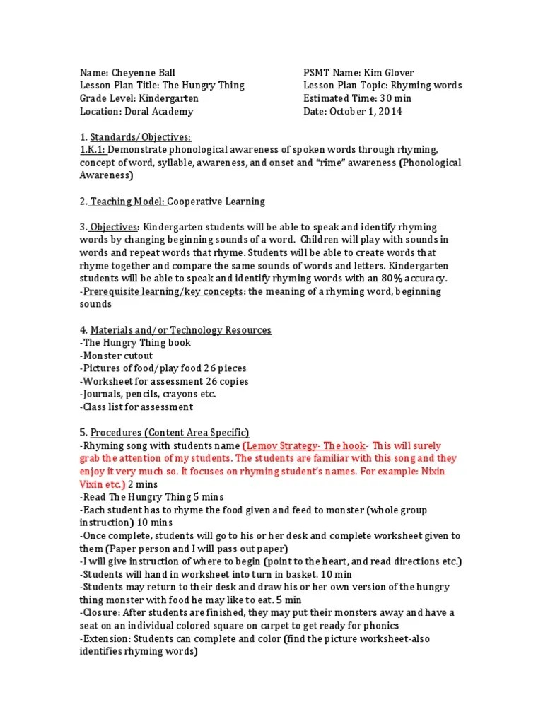 hight resolution of the hungry thing lesson plan 2   Syllable   Lesson Plan