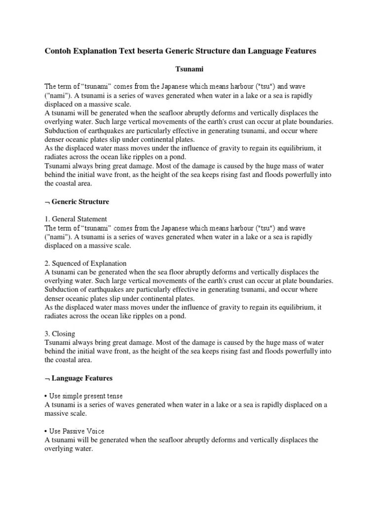 Contoh Explanation Text Singkat Beserta Soal Dan Jawaban : contoh, explanation, singkat, beserta, jawaban, Contoh, Explanation, Beserta, Generic, Structure, Language, Features, Tsunami, Plate, Tectonics