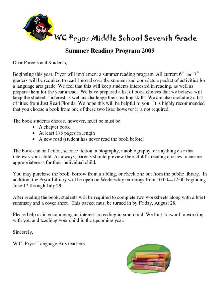 small resolution of Summer Reading Packet Students Entering Seventh Grade