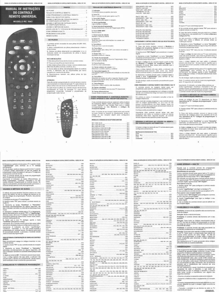 Manual Do Controle Da Sky Rc1643