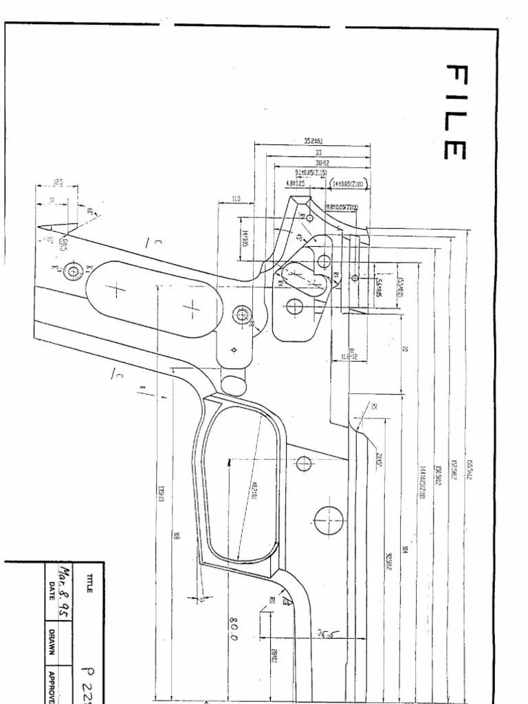 SIG P228 Pistol Blueprint