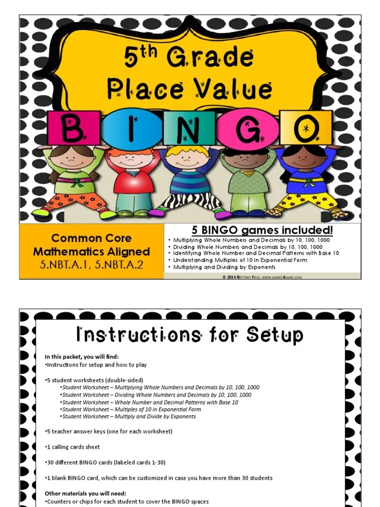 small resolution of 5 Grade Place Value: I B G N O   Teaching Mathematics   Science
