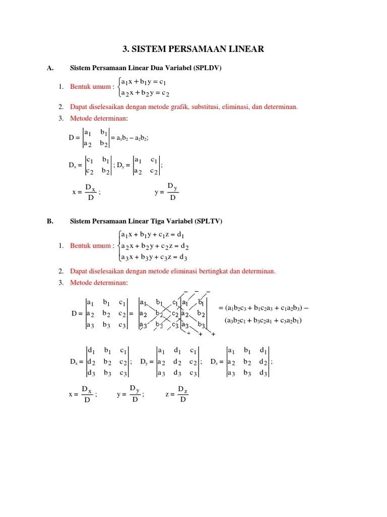 Contoh Soal Persamaan Linear Tiga Variabel : contoh, persamaan, linear, variabel, Kumpulan, Contoh, Metode, Determinan, Variabel, Cute766