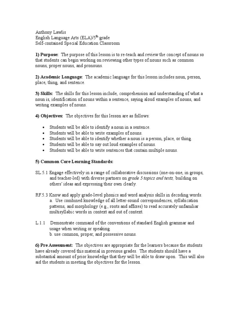 small resolution of nouns lesson   Noun   Educational Assessment