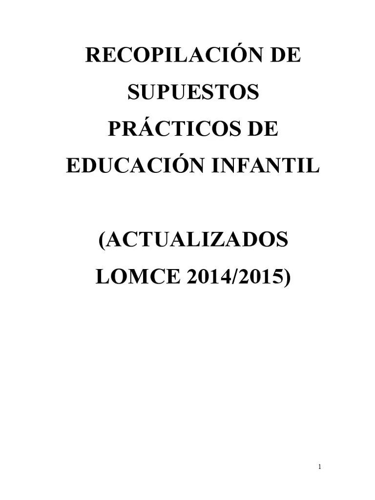 Recopilacion de Supuestos Practicos de Educacion Infantil