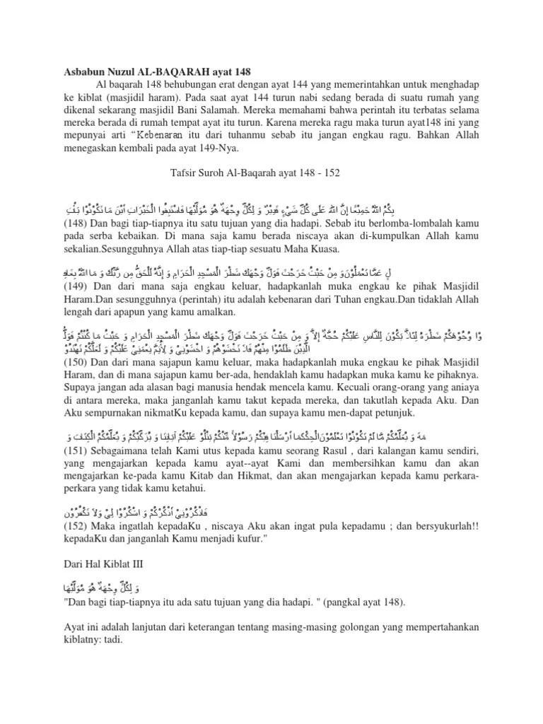 Arti Surah Al Baqarah Ayat 148 : surah, baqarah, Asbabun, Nuzul, Baqara