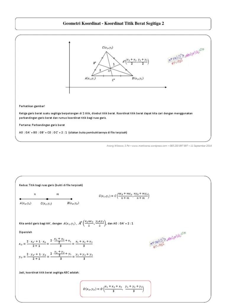 Rumus Titik Koordinat : rumus, titik, koordinat, Geometri, Koordinat, Titik, Berat, Segitiga
