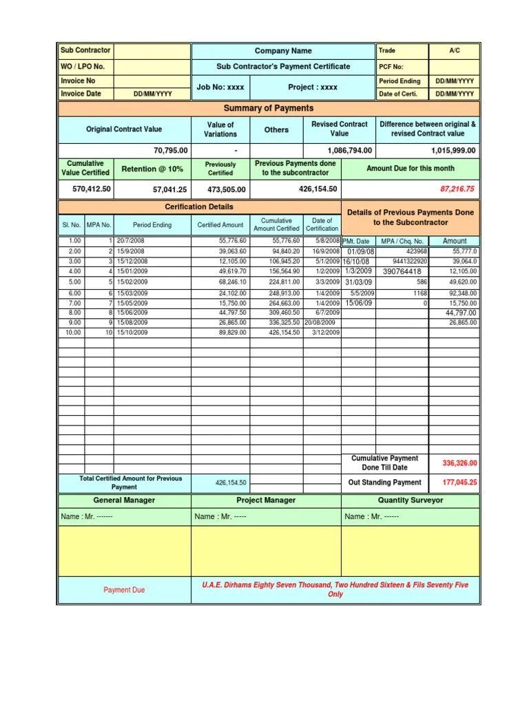 construction invoice