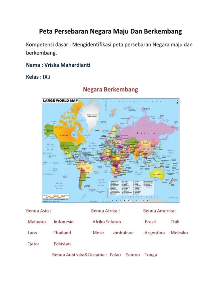Peta Negara Maju : negara, Persebaran, Negara, Berkembang