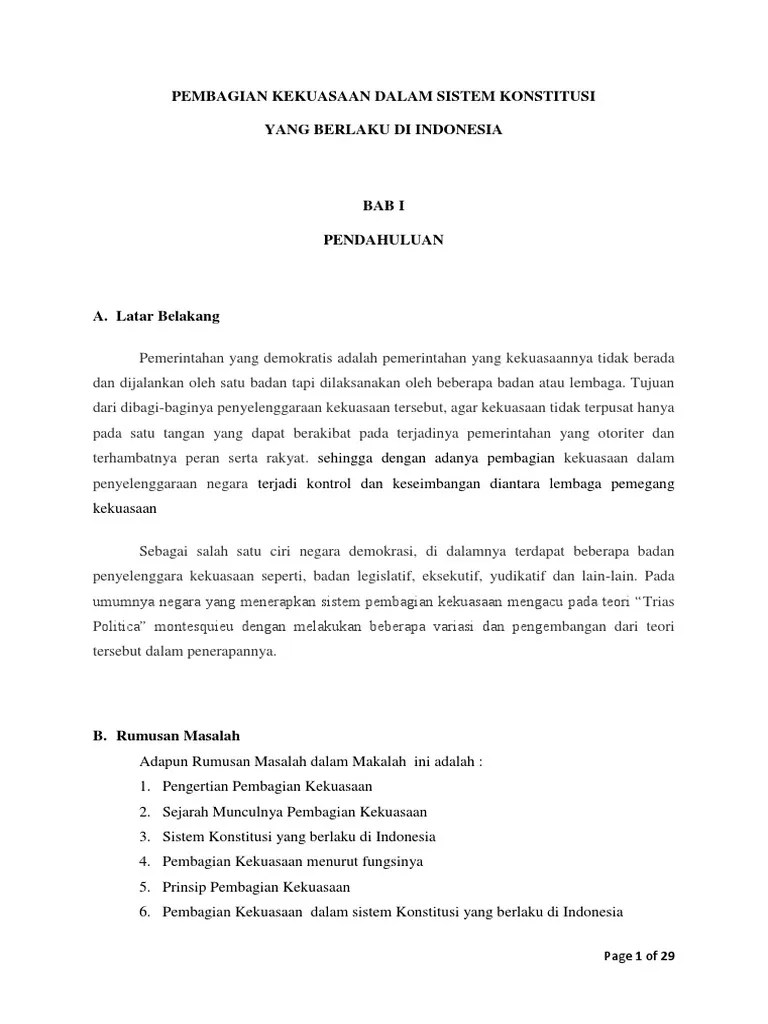 Teori Kekuasaan Menurut Montesquieu : teori, kekuasaan, menurut, montesquieu, Pembagian, Kekuasaan, Sesuai, Sistem, Konstitusi, Indonesia, REVISI3.docx