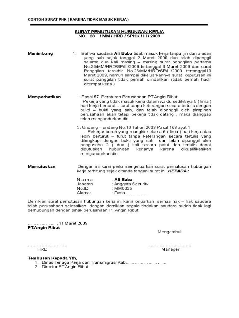 Contoh Surat Pemutusan Hubungan Kerja Karena Mangkir : contoh, surat, pemutusan, hubungan, kerja, karena, mangkir, Surat, Kirim