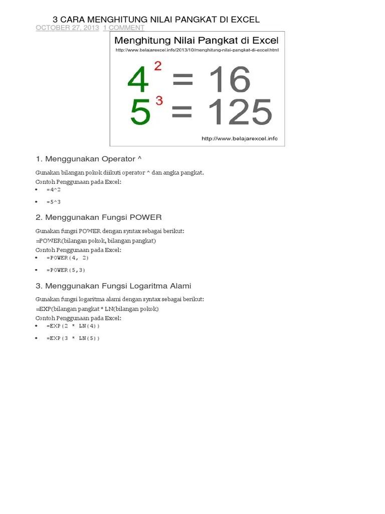 Cara Menghitung Akar Pangkat 2 di Excel