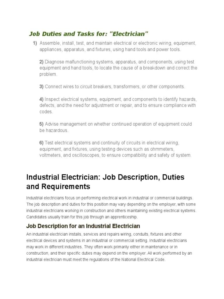 Job Duties And Tasks Electrician Electrical Wiring Rh Es Scribd Com Business  Manager Job Description Account