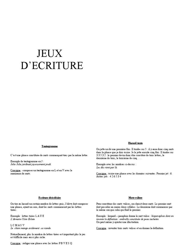 Exemples De Jeux D écriture : exemples, écriture, Ecriture, Poésie, Syllabe