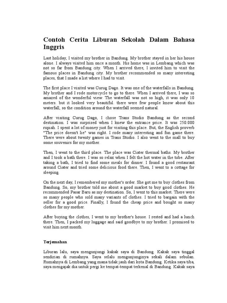 Cerita Tentang Liburan Dalam Bahasa Inggris : cerita, tentang, liburan, dalam, bahasa, inggris, Contoh, Cerita, Liburan, Sekolah, Dalam, Bahasa, Inggris