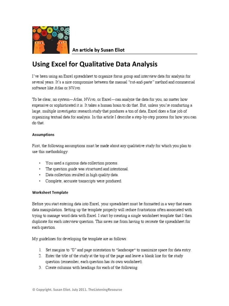 Using Excel For Qualitative Data Analysis   Qualitative Research    Spreadsheet