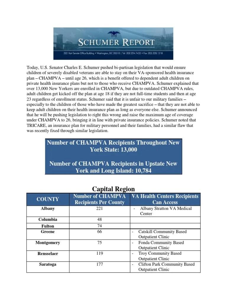 CHAMPVA Schumer Report   Politics   The United States