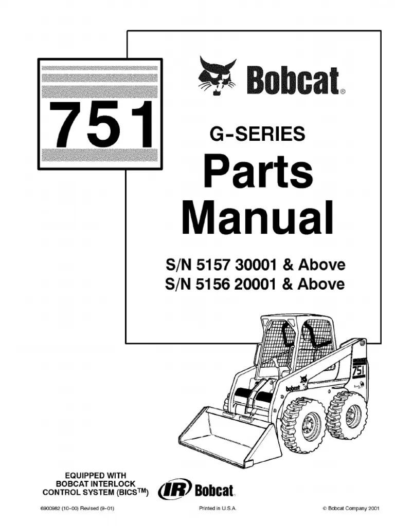 hight resolution of pdf bobcat 751 parts manual sn 515730001 and above sn 515620001 and bobcat 751 wiring diagram