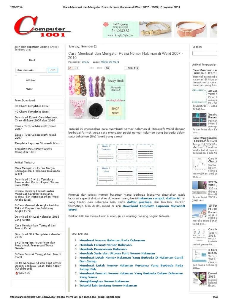 Cara Membuat Halaman Beda Posisi : membuat, halaman, posisi, Membuat, Nomor, Halaman, Berbeda, Terkait, Perbedaan
