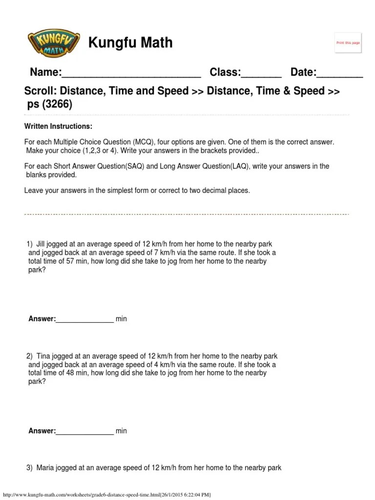 medium resolution of Singapore Math Worksheets Grade 6 Distance