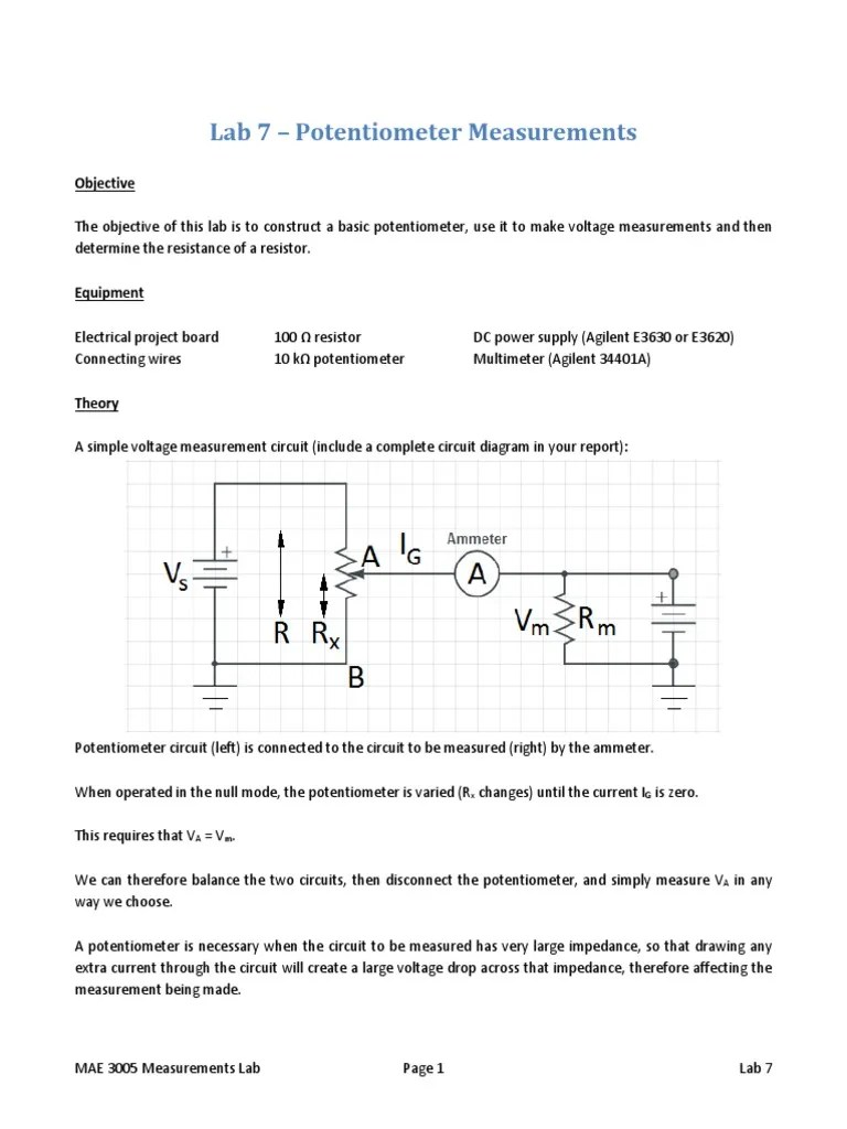 hight resolution of potentiometer and ammeter diagram