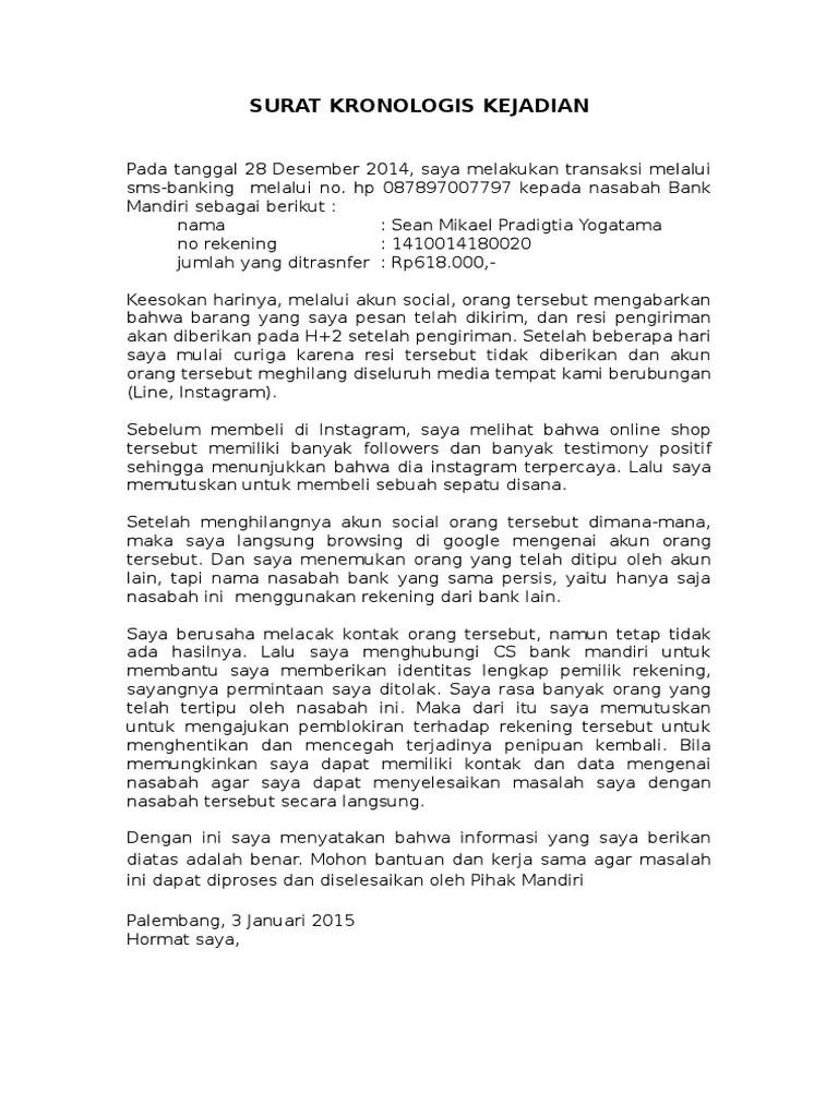 Surat Kronologis Penipuan Cuitan Dokter