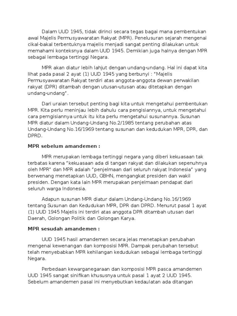 Tugas Dan Wewenang Mpr Sebelum Amandemen : tugas, wewenang, sebelum, amandemen, Sebelum, Amandemen