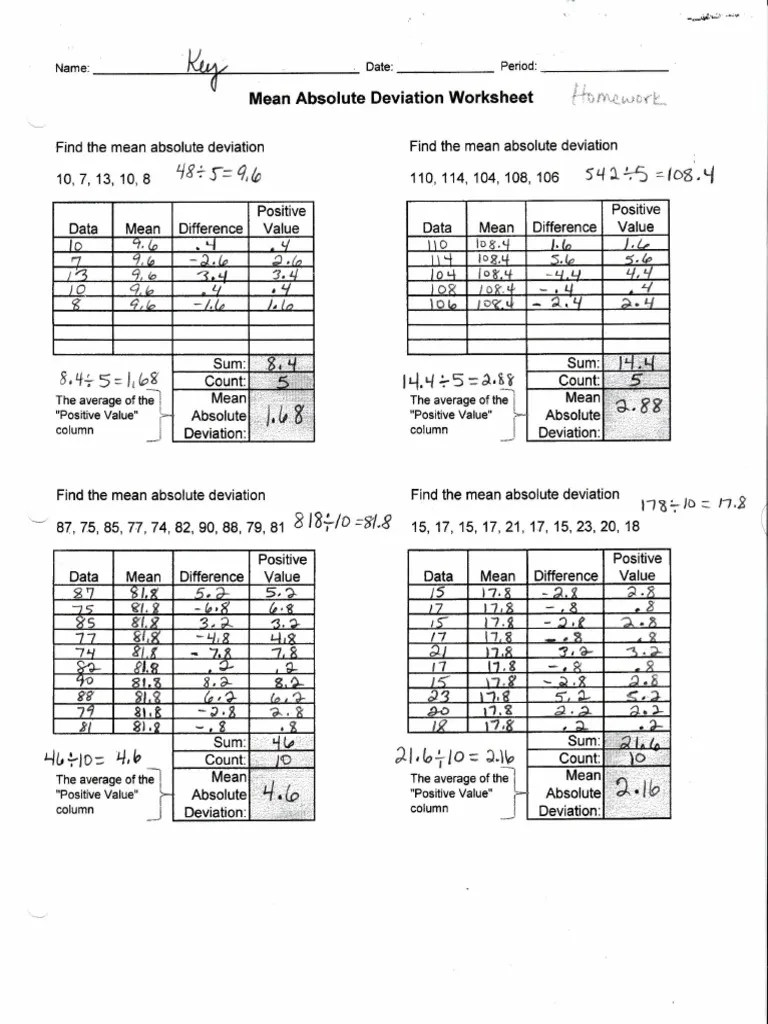 Mean Absolute Deviation Worksheet Answers