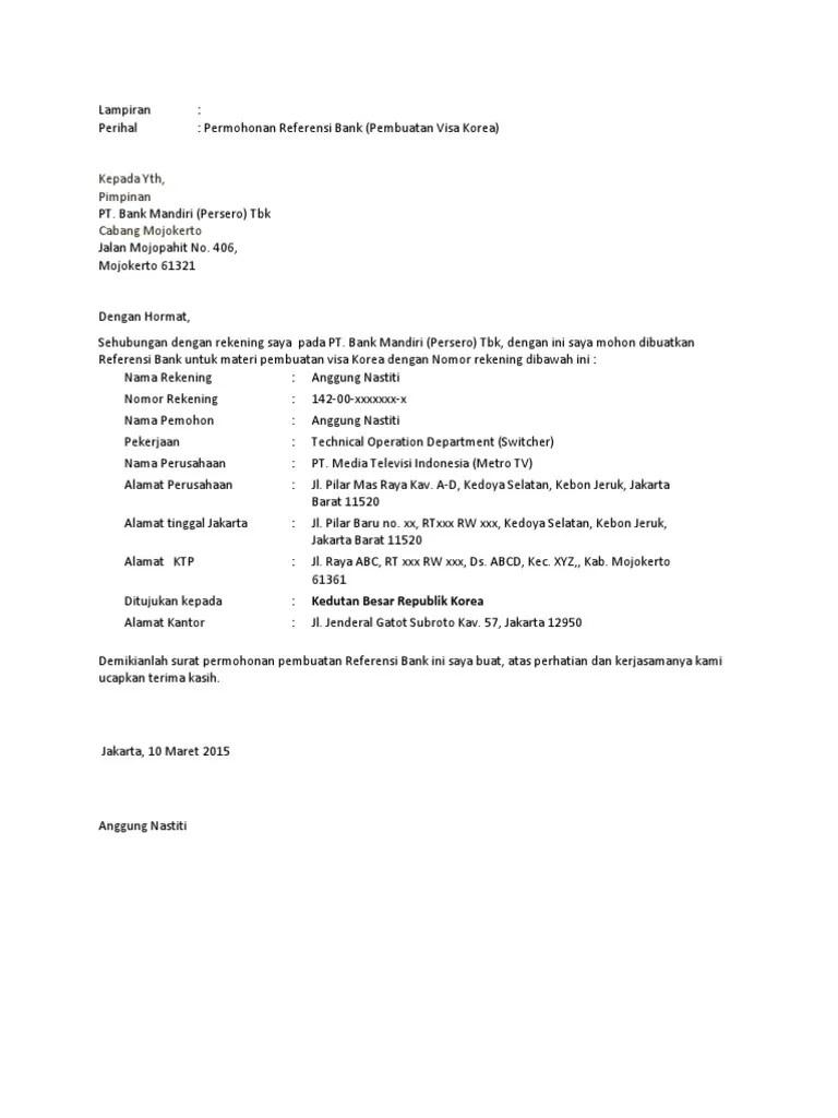 Surat Permohonan Referensi Bank Mandiri : surat, permohonan, referensi, mandiri, Surat, Permohonan, Referensi