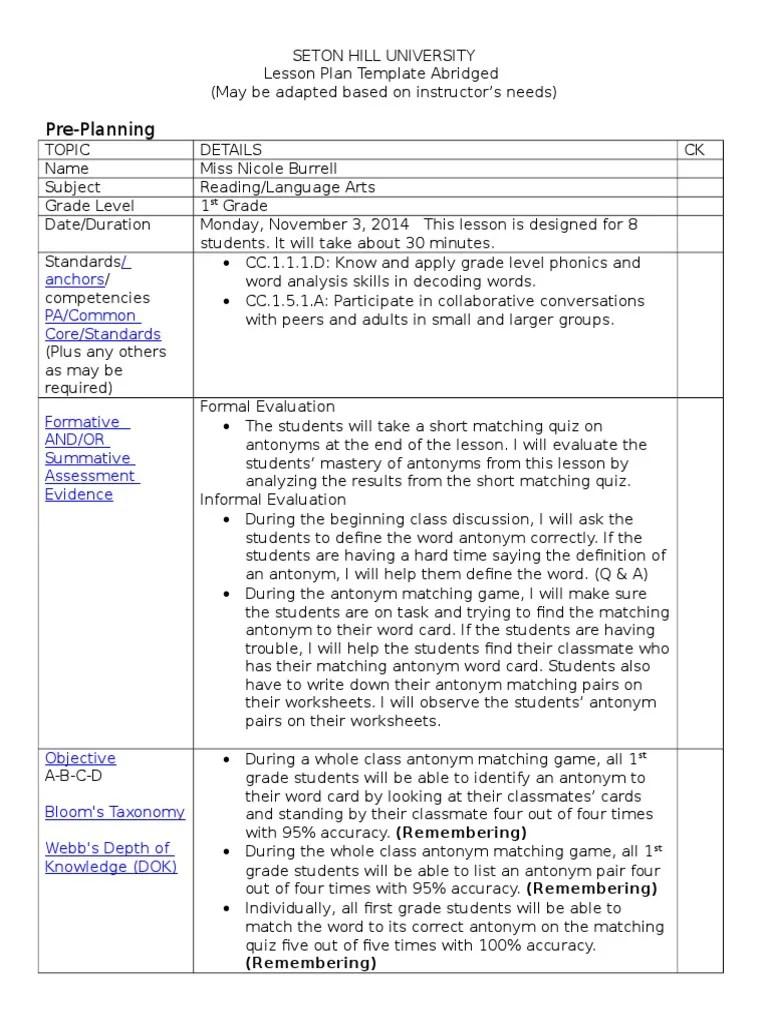 small resolution of antonyms lesson plan   Lesson Plan   Pedagogy