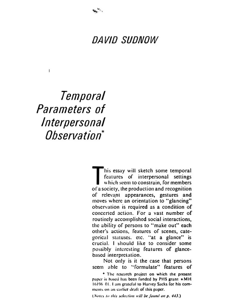 Sudnow 1972 Temporal Parameters of Interpersonal Observation   Gesture   Attention   Free 30-day Trial   Scribd