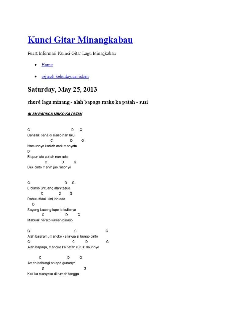 Chord Rindu Di Awan Biru : chord, rindu, Kunci, Gitar, Minangkabau.docx