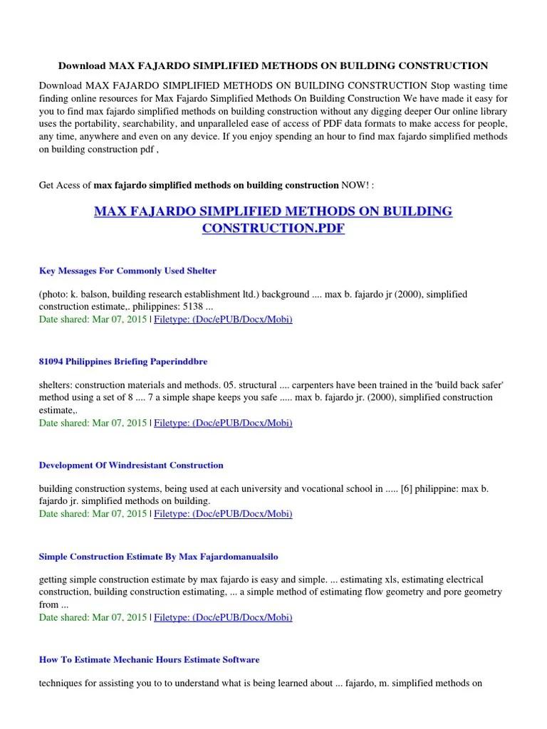 Max Fajardo Simplified Methods on Building Construction | File ...