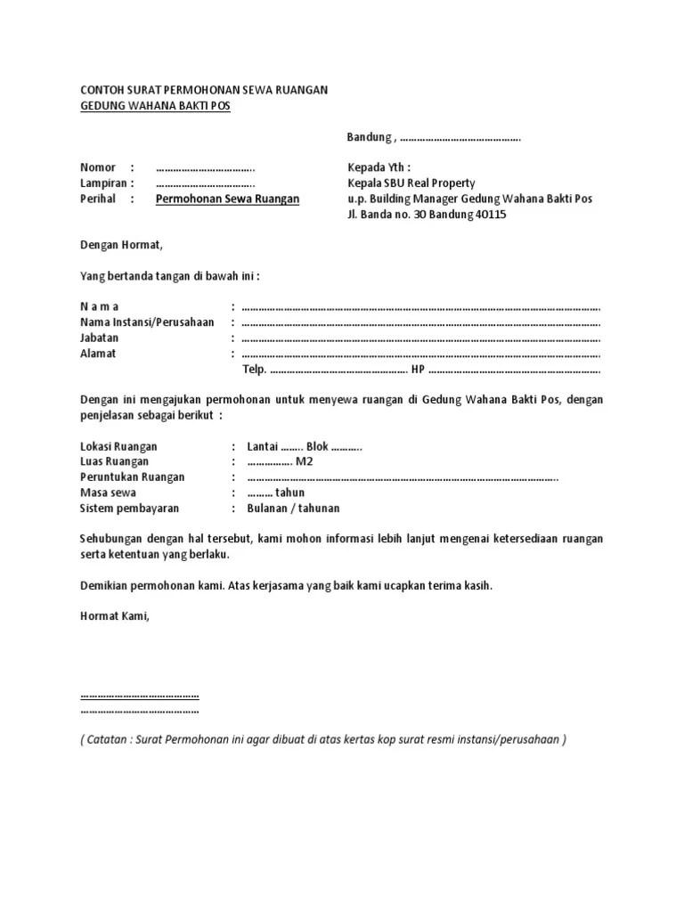 Surat Permohonan Sewa Tempat Di Mall : surat, permohonan, tempat, Menyewa, Contoh, Surat, Permohonan, Kedai