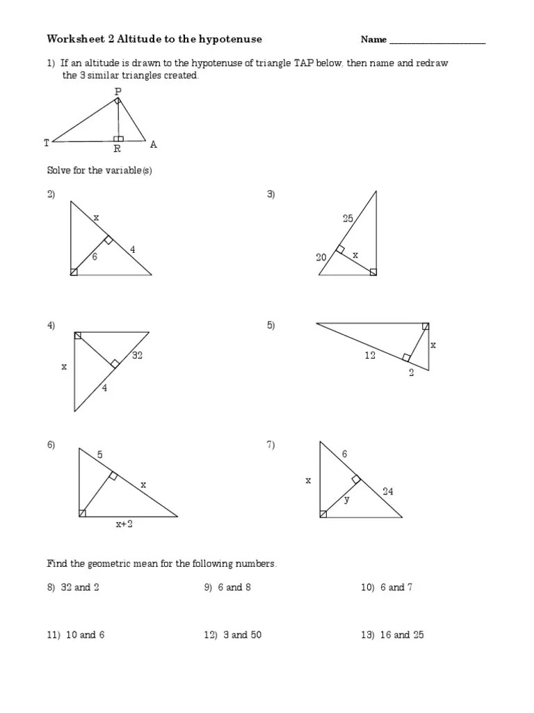 small resolution of Worksheet Altitude to the Hypotenuse 2   Geometric Shapes   Geometry