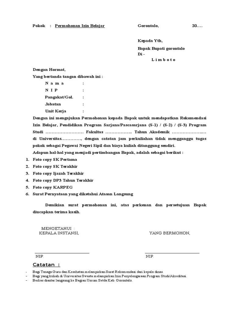 Surat Izin Belajar : surat, belajar, Contoh, Surat, Permohonan, Tugas, Belajar, Cute766