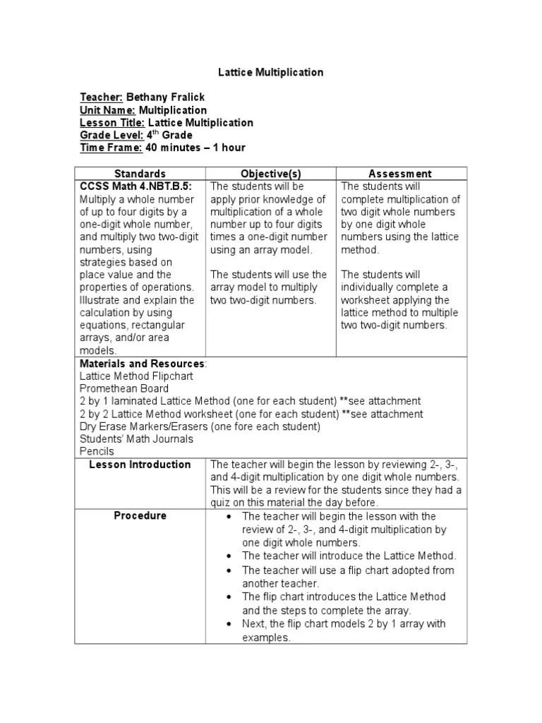 hight resolution of lattice lesson plan   Worksheet   Multiplication