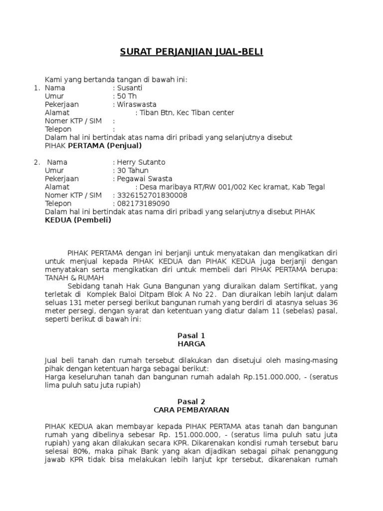 Surat Perjanjian Kredit Hp : surat, perjanjian, kredit, Surat, Perjanjian, Jual-beli, Kredit
