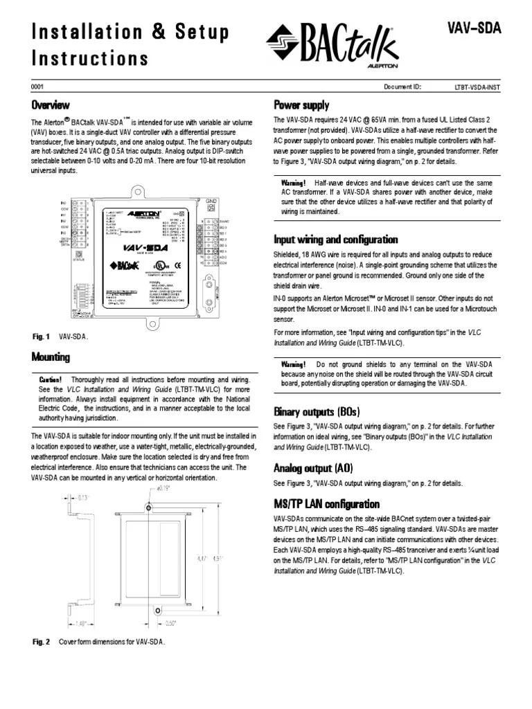 medium resolution of vav sdainstallsheetsltbt vsda inst electrical wiring power supply trane weathertron thermostat wiring diagram vav wiring diagrams