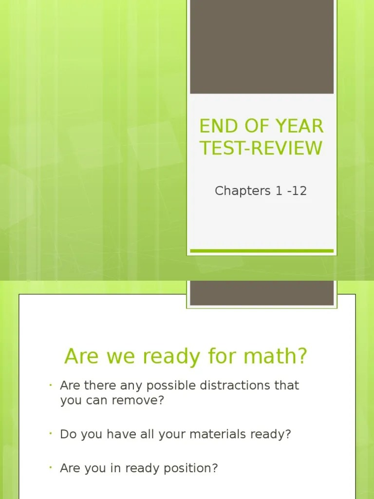 eoy test review chapters 1-12 | Mathematics